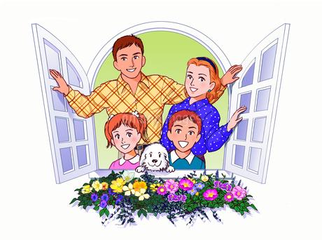 窓辺の家族のイラスト素材 [FYI02976360]