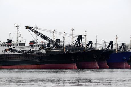 港に並んで停泊する貨物船の写真素材 [FYI02976484]