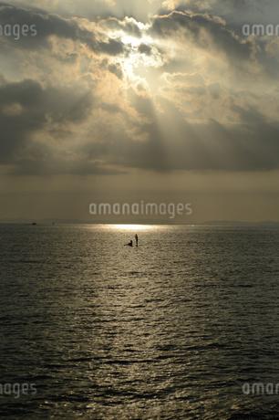 夕暮れ前の海にシルエットのsupの写真素材 [FYI02976707]