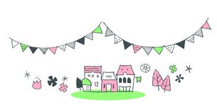 ガーランドと家  ピンクのイラスト素材 [FYI02976986]