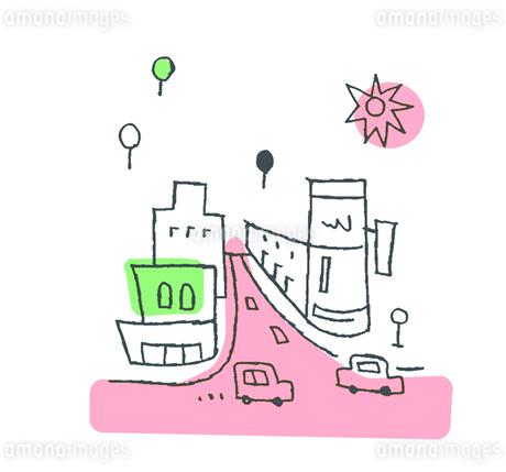 街と車 ピンクのイラスト素材 [FYI02976988]