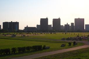 河川敷の先に広がる街の写真素材 [FYI02977858]