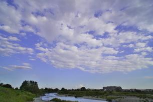 うろこ雲の下を流れる川の写真素材 [FYI02977871]