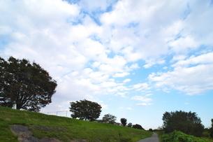 うろこ雲の下に続く堤防道路の写真素材 [FYI02977874]