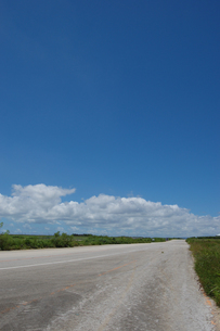 晴天の空と奥に続く直線道路の写真素材 [FYI02978039]