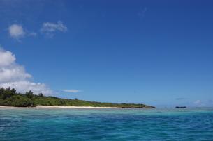エメラルドグリーンの海と緑に覆われた島の写真素材 [FYI02978047]