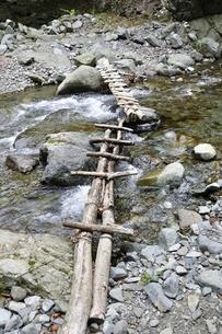 渓流に架かる橋の写真素材 [FYI02978551]