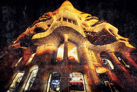 バルセロナ 世界遺産カサ・ミラの写真素材 [FYI02978643]