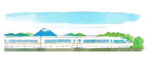 新幹線と富士山のイラスト素材 [FYI02978704]
