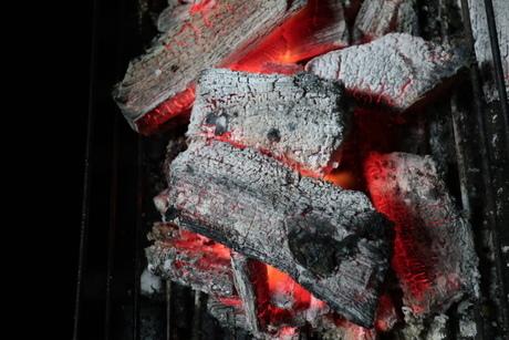 バーベキューコンロの中で燃える炭火の写真素材 [FYI02978861]