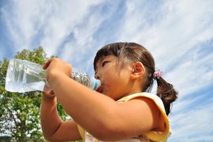 水を飲む小学生の女の子の写真素材 [FYI02979007]