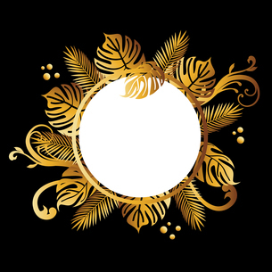 モンステラ ゴールド 背景のイラスト素材 [FYI02979110]