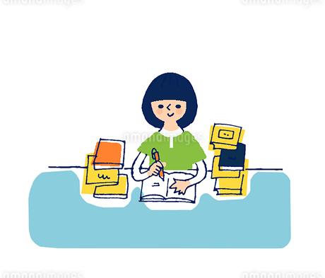 勉強する女の子のイラスト素材 [FYI02979227]