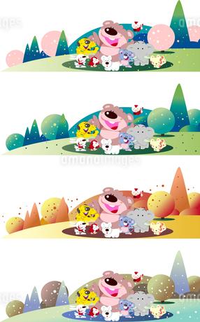 可愛い動物の四季のイラスト素材 [FYI02979269]