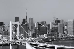 レインボーブリッジと東京タワーが見える町並みの写真素材 [FYI02979598]