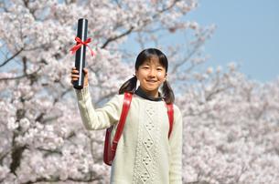 小学生の女の子(桜、ランドセル、卒業証書)の写真素材 [FYI02979840]