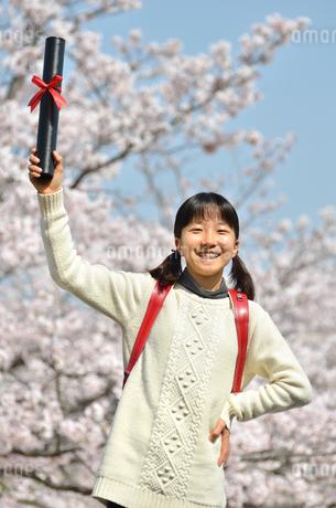 小学生の女の子(桜、ランドセル、卒業証書)の写真素材 [FYI02979844]