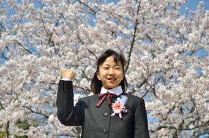 ガッツポーズをきめる中学生の女の子(入学、桜)の写真素材 [FYI02979860]