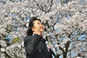 ガッツポーズをきめる中学生の女の子(入学、桜)の写真素材 [FYI02979862]