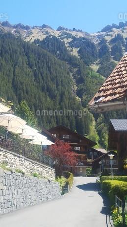 スイス ヴェンゲン 町と山の風景の写真素材 [FYI02979913]
