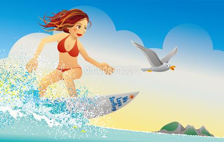 波に乗るビキニのサーファーガールのイラスト素材 [FYI02979915]