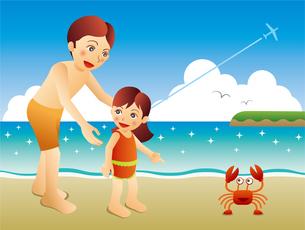 ビーチでカニを見つけた娘と父のイラスト素材 [FYI02979918]