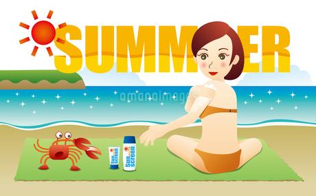日焼け止めクリームを塗る女性とカニのイラスト素材 [FYI02979919]