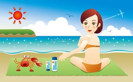 日焼け止めクリームを塗る女性とカニのイラスト素材 [FYI02979920]