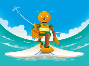 波に乗るオレンジロボットサーファーのイラスト素材 [FYI02979952]