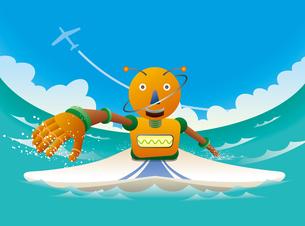 波に乗るオレンジロボットサーファーのイラスト素材 [FYI02979953]