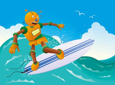 波に乗るオレンジロボットサーファーのイラスト素材 [FYI02979955]