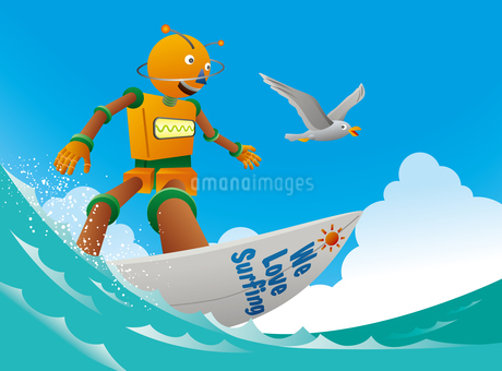 波に乗るオレンジロボットサーファーのイラスト素材 [FYI02979956]