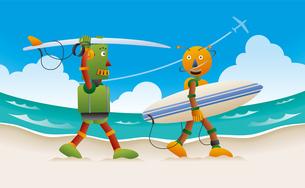 サーフボードを抱えて砂浜を歩く2体のロボットサーファーのイラスト素材 [FYI02979960]