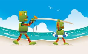 サーフボードを抱えて砂浜を歩く親子ロボットのイラスト素材 [FYI02979961]