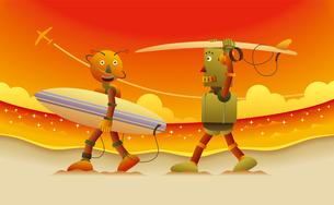 夕焼けの中、サーフボードを抱えて砂浜を歩く2体のロボットサーファーのイラスト素材 [FYI02979963]