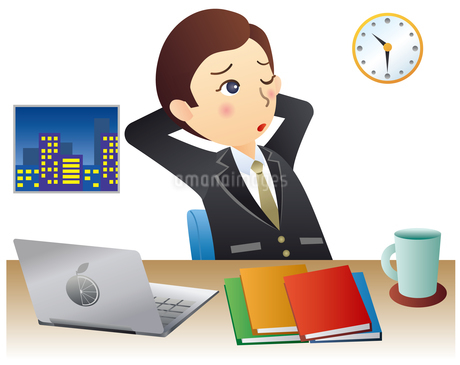 残業するビジネスマンのイラスト素材 [FYI02980007]