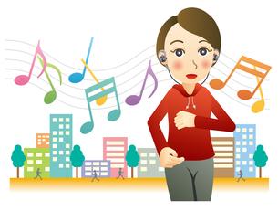音楽を聴きながらジョギングする女性のイラスト素材 [FYI02980146]