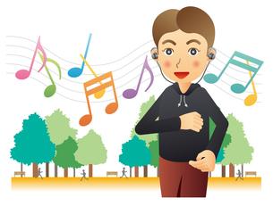 音楽を聴きながらジョギングする男性のイラスト素材 [FYI02980148]