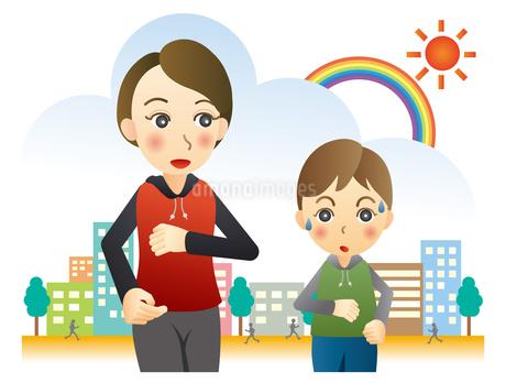 ジョギングする親子のイラスト素材 [FYI02980150]