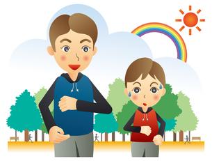 ジョギングする親子のイラスト素材 [FYI02980152]