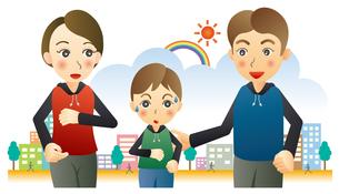 ジョギングする親子のイラスト素材 [FYI02980153]