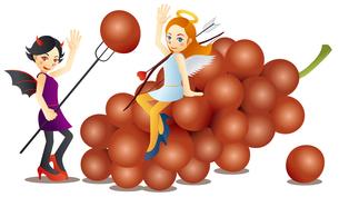 可愛い天使と可愛い悪魔と美味しそうな葡萄のイラスト素材 [FYI02980195]