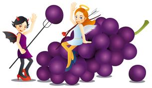 可愛い天使と可愛い悪魔と美味しそうな葡萄のイラスト素材 [FYI02980197]