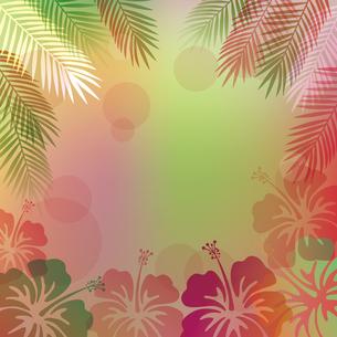 ハイビスカス 椰子の葉 背景のイラスト素材 [FYI02980271]