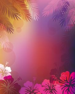 ハイビスカス 椰子の葉 背景のイラスト素材 [FYI02980277]