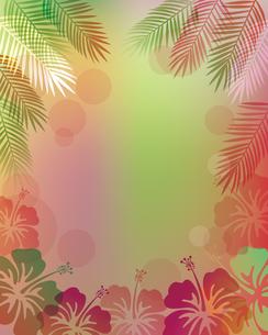 ハイビスカス 椰子の葉 背景のイラスト素材 [FYI02980279]