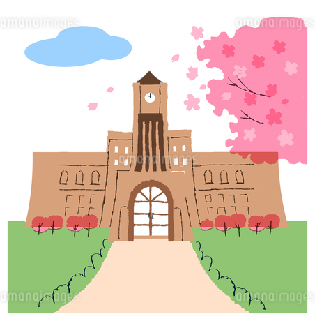 大学と桜のイラスト素材 [FYI02980308]