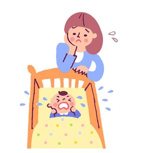 泣く赤ちゃんとママのイラスト素材 [FYI02980317]