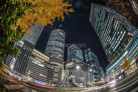 名古屋駅前の夜景の写真素材 [FYI02980419]