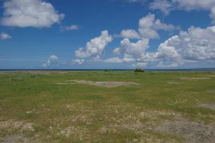 良く晴れた青空とフラットな緑の草原の写真素材 [FYI02980637]